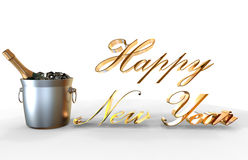 Nuovo anno felice Champagne Immagine Stock