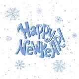 Nuovo anno felice Citazione disegnata a mano dell'iscrizione Fotografia Stock Libera da Diritti