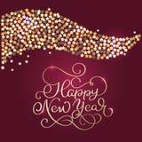 Nuovo anno felice Composizione brillante nell'iscrizione con le stelle e le scintille Illustrazione disegnata a mano di vettore d Fotografia Stock