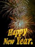 Nuovo anno felice con i fuochi d'artificio. Fotografia Stock