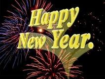 Nuovo anno felice con i fuochi d'artificio. Immagine Stock