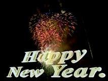 Nuovo anno felice con i fuochi d'artificio. Fotografia Stock Libera da Diritti