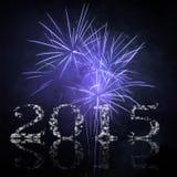Nuovo anno felice con i fuochi d'artificio Immagine Stock Libera da Diritti