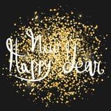 Nuovo anno felice Coriandoli dell'oro illustrazione vettoriale