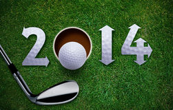 Nuovo anno felice di golf Immagini Stock Libere da Diritti