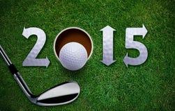 Nuovo anno felice di golf Fotografia Stock Libera da Diritti