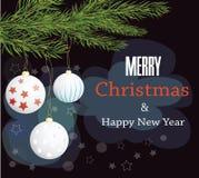 Nuovo anno felice e Buon Natale Albero di Natale della cartolina Fotografie Stock Libere da Diritti