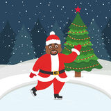 Nuovo anno felice e Buon Natale Cartolina d'auguri con l'albero di Natale Bello afroamericano Santa che pattina sul Immagine Stock Libera da Diritti