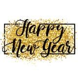 Nuovo anno felice Fondo dorato per l'aletta di filatoio, manifesto, segno, illustrazione vettoriale