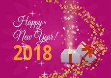Nuovo anno felice Illustrazione di vettore di festa Composizione brillante nell'iscrizione con le stelle e le scintille Immagine Stock