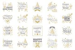 Nuovo anno felice Insieme degli elementi tipografici Fotografia Stock