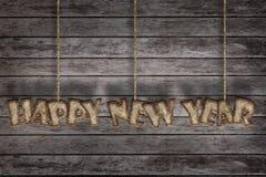 Nuovo anno felice, lettera di carta del gelso Immagine Stock