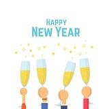 Nuovo anno felice Mani con i vetri di champagne Illustrazione piana di vettore Fotografia Stock