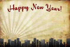 Nuovo anno felice nella vecchia struttura Immagine Stock