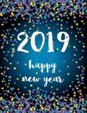 Nuovo anno felice Nuova carta astratta elegante di vettore di 2019 anni con i coriandoli di caduta variopinti illustrazione vettoriale
