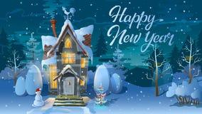 Nuovo anno felice Orario invernale Notte del Natale, la casa della famiglia prima di una festa Un'illustrazione per la carta mani Immagini Stock Libere da Diritti