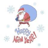 Nuovo anno felice Santa Claus che tiene un grande sacco Immagini Stock Libere da Diritti