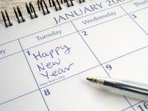 Nuovo anno felice scritto il 1° gennaio. Fotografia Stock Libera da Diritti