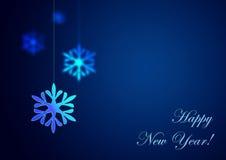 Nuovo anno felice su priorità bassa blu Fotografia Stock
