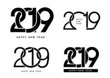 Nuovo anno felice Un insieme del modello di progettazione di 2019 testi Illustrazione di vettore Isolato su priorità bassa bianca Fotografia Stock