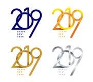 Nuovo anno felice Un insieme del modello di progettazione di 2019 testi Illustrazione di vettore Isolato su priorità bassa bianca Fotografia Stock Libera da Diritti