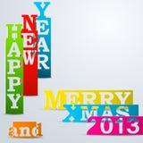 Nuovo anno felice variopinto & strisce di carta allegre di natale Fotografia Stock Libera da Diritti