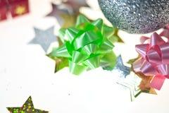 Nuovo anno, festa, luminosità, scintillio, ghirlanda, natale, festivo, candela, palla, palle, decorazione, regali, giocattoli immagini stock