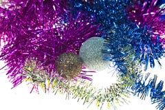 Nuovo anno, festa, luminosità, scintillio, ghirlanda, natale, festivo, candela, palla, palle, decorazione, regali, giocattoli immagine stock libera da diritti