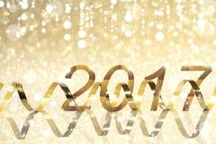 Nuovo anno, fondo dorato 2017 Fotografia Stock Libera da Diritti
