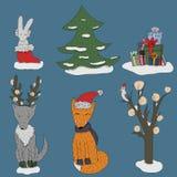 Nuovo anno in Forest Set illustrazione di stock