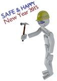 Nuovo anno Job Safety Image con il costruttore del robot fotografia stock libera da diritti