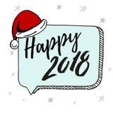 Nuovo anno 2018 Logo disegnato a mano per la carta del nuovo anno, manifesto, progettazione Iscrizione moderna della mano sul fon Fotografia Stock