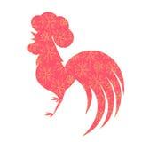 Nuovo anno lunare cinese 2017 Siluetta del gallo con un ornamento floreale Festival di primavera Gallo rosso Fotografie Stock Libere da Diritti