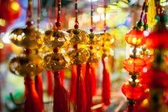 Nuovo anno lunare della decorazione fortunata della lanterna in Asia Fotografia Stock Libera da Diritti
