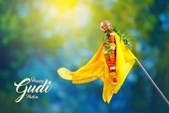 Nuovo anno marathi di Gudi Padwa fotografie stock
