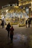 Nuovo anno a Mosca Via di Nicolskaya Immagini Stock Libere da Diritti
