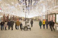 Nuovo anno Mosca Via di Nikolskaya Fotografia Stock