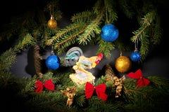 Nuovo anno Natale I giocattoli, albero di Natale si ramifica, coni, con Fotografia Stock Libera da Diritti