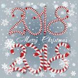 Nuovo anno 2018 nella forma del bastone della caramella isolata su bianco Numero di anno come caramelle a strisce di festa Elemen royalty illustrazione gratis