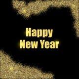 Nuovo anno nelle lettere dell'oro su un fondo nero royalty illustrazione gratis