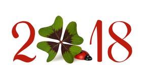 Nuovo anno 2018, numeri ed acetosella isolati su bianco Immagini Stock Libere da Diritti