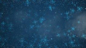 Nuovo anno o Natale che accoglie scheda video con i fiocchi di neve del circuito Animazione senza cuciture del ciclo del fondo as illustrazione di stock