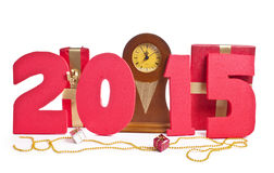 Nuovo anno 2015, orologio Immagini Stock Libere da Diritti