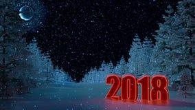 Nuovo anno 2018 Paesaggio di inverno Fondo Figure 2018 Posto per l'iscrizione Nessuna gente La luna, la foresta 3D Animatio illustrazione di stock
