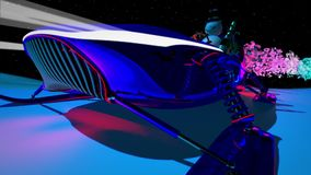 Nuovo anno 2018 Paesaggio di inverno Fondo Figure 2018 Posto per l'iscrizione Nessuna gente La luna, la foresta 3D Animatio video d archivio