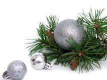 Nuovo anno, palle di Natale, rami del pino Immagine Stock Libera da Diritti