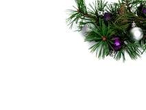 Nuovo anno, palle di Natale, rami del pino Fotografia Stock