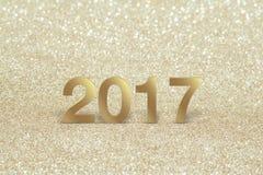 Nuovo anno, primo piano su 2017 dorato Immagini Stock