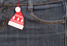 Nuovo anno, priorità bassa di natale Struttura dei jeans Fotografie Stock Libere da Diritti