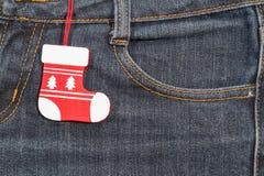 Nuovo anno, priorità bassa di natale Struttura dei jeans Immagini Stock Libere da Diritti